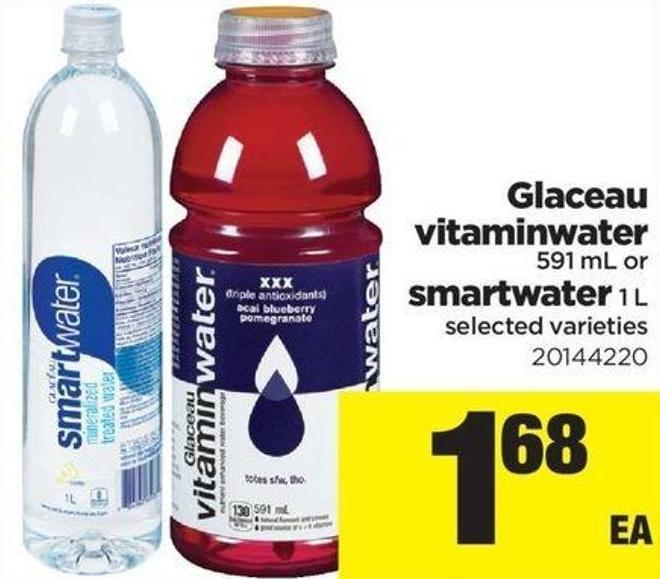 Glaceau Vitaminwater - 591 mL or Smartwater - 1 L