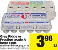 Gray Ridge Or Prestige Grade A Large Eggs - Pkg of 18