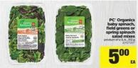PC Organics Baby Spinach - Field Greens Or Spring Spinach Salad Mixes - 312 g