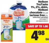 Neilson Trutaste 1% - 2% - Skim - Neilson Chocolate 4 L Or Lactose Free 2 L