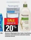 Aveeno Or Neutrogena Face - Body Or Hand Lotion - Cleansers And Moisturizers