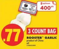 Rooster Garlic - 3 Count Bag