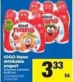 IOGO Nano Drinkable Yogurt - 6x93 mL
