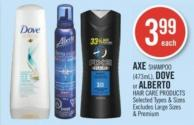 Axe Shampoo (473ml) - Dove or Alberto Hair Care Products