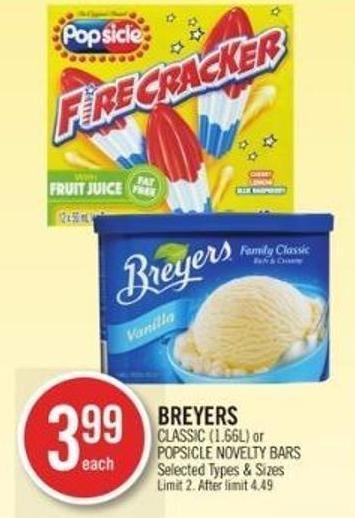 Breyers Classic (1.66l) or Popsicle Novelty Bars