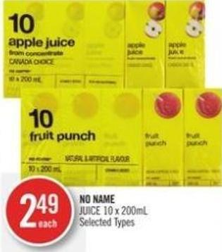 No Name Juice 10 X 200ml