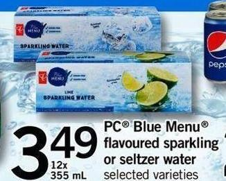 PC Blue Menu Flavoured Sparkling Or Seltzer Water - 12x 355 Ml