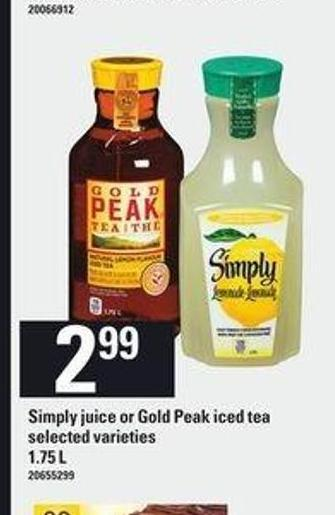 Simply Juice Or Gold Peak Iced Tea - 1.75 L
