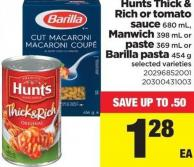 Hunts Thick & Rich Or Tomato Sauce - 680 mL - Manwich - 398 mL Or Paste - 369 mL Or Barilla Pasta - 454 g