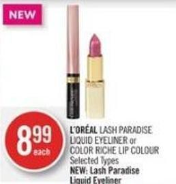 L'oréal Lash Paradise Liquid Eyeliner or Color Riche Lip Colour