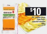 PC Cheese Slices Club Pack - 500 g