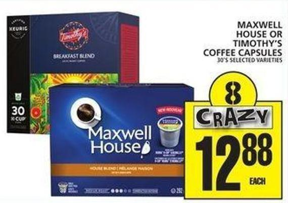 Maxwell House Or Timothy's Coffee Capsules