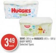 Dove (30's) or Huggies (45's - 64's) Baby Wipes