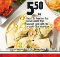 Fresh 2go Sweet And Sour Caesar Chicken Wrap | Sandwich Roulé Fresh 2 Go Au Poulet César Aigre-doux