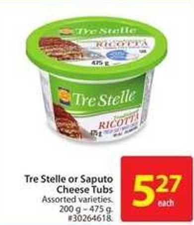 Tre Stelle or Saputo Cheese Tubs