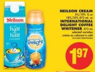 Neilson Cream 5%/10% 1l or 18%/35% - 473 mL or International Delight Coffee Whitener - 473 mL