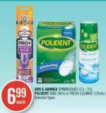 Arm & Hammer Spinbrushes (1's - 2's) - Polident Tabs (96's) or Fresh Cleanse (125ml)