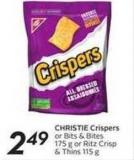 Christie Crispers or Bits & Bites 175 g or Ritz Crisp & Thins 115 g