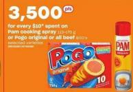 Pam Cooking Spray 113-170 g Or Pogo Original Or All Beef 8/10's