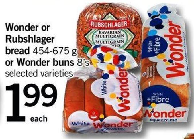 Wonder Or Rubshlager Bread - 454-675 G Or Wonder Buns - 8's