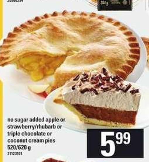 No Sugar Added Apple Or Strawberry/rhubarb Or Triple Chocolate Or Coconut Cream Pies - 520/620 g