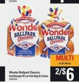 Wonder Ballpark Classics Hamburger - 8's Or Hot Dog - 6's Buns