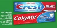 Colgate Or Crest Toothpaste Or Selection Or Oral-b Toothbrush
