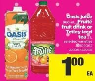 Oasis Juice - 960 Ml - Fruité Fruit Drink Or Tetley Iced Tea - 2 L
