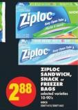 Ziploc Sandwich - Snack or Freezer Bags - 10-90's