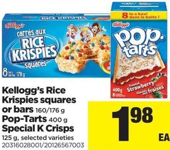 Kellogg's Rice Krispies Squares Or Bars - 160/176 g - Pop-tarts - 400 g Special K Crisps - 125 g