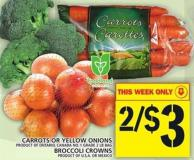 Carrots Or Yellow Onions Or Broccoli Crowns