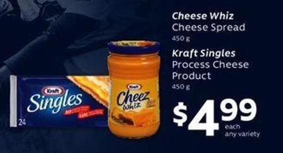 Cheese Whiz Cheese Spread - 450 G Kraft Singles Process Cheese Product - 450 G