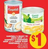 Campbell's Ready To Serve Soup 284 mL - Campbell's Condensed Soup 284 mL or Green Giant Vegetables 341/398 mL
