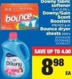 Downy Fabric Softener - 2.47-3.06 L - Downy/gain Scent Boosters - 419/422 G Or Bounce Dryer Sheets - 200's