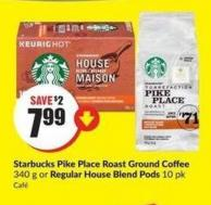 Starbucks Pike Place Roast Ground Coffee 340 g or Regular House Blend Pods 10 Pk