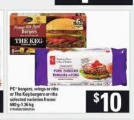 PC Burgers - Wings Or Ribs Or The Keg Burgers Or Ribs - 680 G-1.36 Kg