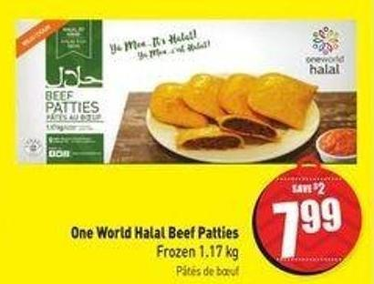 One World Halal Beef Patties Frozen 1.17 Kg