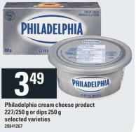 Philadelphia Cream Cheese Product - 227/250 G Or Dips - 250 G