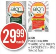 Align Probiotic Gummy Vitamins (50's) - Tablets or Capsules (21's - 28's)