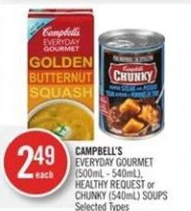 Campbell's Everyday Gourmet (500ml - 540ml) - Healthy Request or Chunky (540ml) Soups