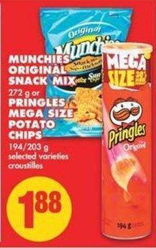 Munchies Original Snack Mix - 272 G Or Pringles Mega Size Potato Chips - 194/203 G