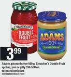 Adams Peanut Butter - 500 G - Smucker's Double Fruit Spread - Jam Or Jelly - 390-500 Ml