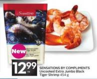 Sensations By Compliments Uncooked Extra Jumbo Black Tiger Shrimp
