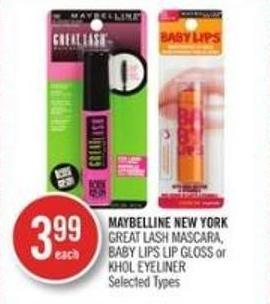 Maybelline New York Great Lash Mascara - Baby Lips Lip Gloss or Khol Eyeliner