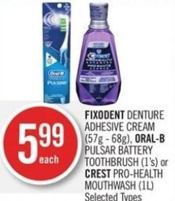 Fixodent Denture Adhesive Cream (57g - 68g) - Oral-b Pulsar Battery Toothbrush (1's) or Crest Pro-health Mouthwash (1l)