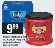 Folgers Roast And Ground Coffee 642-920 G Or Tetley Tea 216's