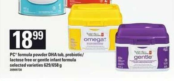PC Formula Powder Dha Tub - Probiotic/ Lactose Free Or Gentle Infant Formula - 629/658 g
