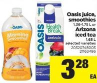 Oasis Juice - Smoothies - 1.36-1.75 L Or Arizona Iced Tea - 1.65 L