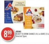 Atkins Ready To Drink Shakes (4's) or Bars (5's)