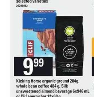 Kicking Horse Organic Ground 284g - Whole Bean Coffee 484 G - Silk Unsweetened Almond Beverage 6x946 Ml Or Clif Energy Bar 12x68 G